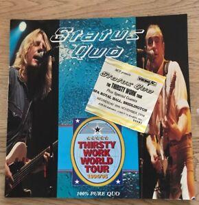 Status Quo Tour Programme - 1994/5 - Thirsty Work World Tour - c/w Used Ticket