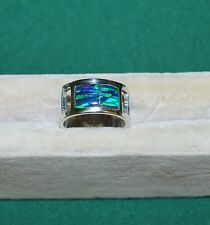 STERLING SILVER Ring Size 7 1/2 OPAL WIDE Wedding BAND PIPE CUT Mosaic