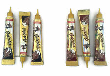 3 Black Color + 3 Brown Henna Applicator Paste Tubes Temporary Tattoo Body Art