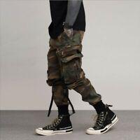 Mens Casual Overalls Cargo Jogging Harem Trousers Loose Fit Skinny Pants Combat