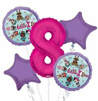 New LOL Surprise! 8TH Eight Birthday Party Favor Supplies Balloon Bouquet 5pc