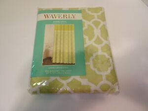 WAVERLY Shower Curtain Lovely Lattice Citron Green White NEW Fabric