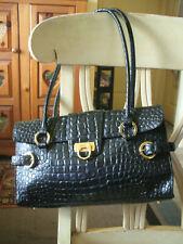 Lord and Taylor Genuine Black Leather Faux Croc Handbag Shoulder bag