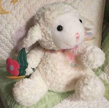 Wal-Mart Plush White Stuffed Lamb Holding Pink Yellow Felt Flowers w Pastel Bow