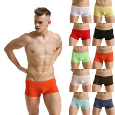Sexy Men's Ice Silk Boxer Trunks Shorts Low-rise Underwear Soft Shorts Trunks