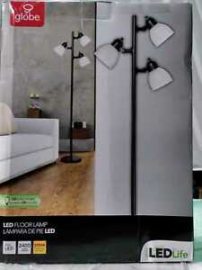 LED for Life 63 in. 3-Light Matte Black Floor Lamp by Globe Electric