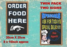 Vintage Style Pub Food Signs Coffee Antique Style Signs 2 PACK Restaurant Signs