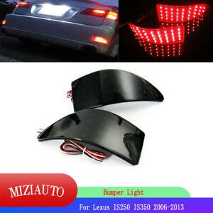 Smoke LED Rear Bumper Brake Light Lamp Reflector For Lexus IS250 IS350 2006-2013