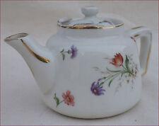 Aluminite Frugier Limoges Porcelain France Gilt Flowers Tea Pot
