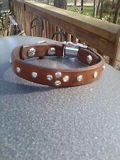 100% Leather & Crystal Small Dog Collar