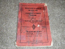 1952 52 MATCHLESS SUPER CLUBMAN G9 G 9 500 OWNER OWNERS OWNER'S MANUAL