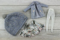 Blythe doll outfit dress Headdress gray tights white coat accesories clothes 1/6