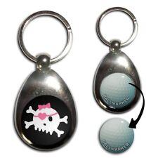 Black Skull with Bow - Chrome Golf Ball Marker Key Ring New