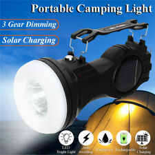 Waterproof Solar Flashlight Portable Camping Light Emergency Torch Rechargeable