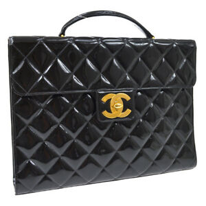 CHANEL Quilted CC Briefcase Business Hand Bag 3996884 Patent Leather AK38543h