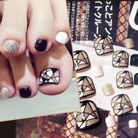Toe Nails Geometry Women Artificial Press On Fake DIY Elegant Glitter Pedicure