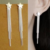 Long Solid 925 Sterling Silver Star Tassel Cascade Chain Drop Dangle Earrings