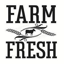 FARM FRESH Primitive Country Farmhouse Vinyl Design Wall Decal Sticker Home 9x9