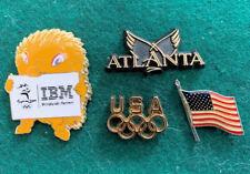 4 Olympics Pins: 2000 Sydney Millie Spiny Anteater, Atlanta, Usa Rings, Us Flag