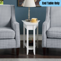Wooden Wedge Shape End Table Living Room Sofa Side Accent Display Storage White