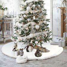 Christmas Tree Skirt Floor Fur Faux Xmas Decor Mat Home Ornament White Party New