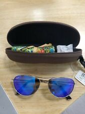 Polarized MAUI JIM Titanium Sunglasses Baby Beach B245-17 Silver w/ Blue Hawaii