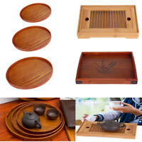 Wooden Bamboo Plate Serving Tray Tea Food Server Home Wedding Dishes Platter DY