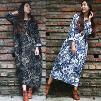 ZANZEA Women's Long Sleeve Loose Vintage Retro Print Party Long Maxi Dress Plus