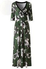 Kranda Women s Paris Bohemian 3 4 Sleeve Faux Wrap Maxi Dress Small, Dark Green