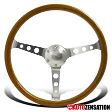 "370MM 14.75"" Aluminum Spokes Vintage Classic Wooden Wood Grain Steering Wheel"