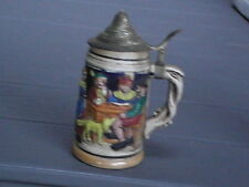 Decorated Beer Stein with Lid Made In Japan 3-D Pictures on Side great cond 7""