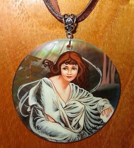 Pendant MUCHA OCTOBER Autumn MONTHS Hand Painted SHELL signed reproduction GIFT