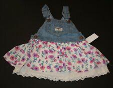 21a2a18b080 New OshKosh Girls Denim Blue Jean Jumper Dress Overalls Floral Eyelet Skirt  3T