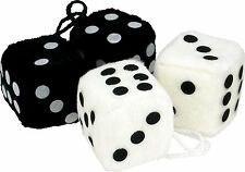 New Pair Quality Hanging Fuzzy Dice in White/Black dots SZ 2-1/8 Rearview mirror