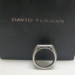 DAVID YURMAN Sterling Silver Streamline Pave Black Diamond Signet Ring Sz 9