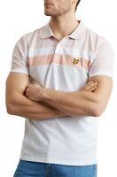 Lyle & Scott Casual Short Sleeve Cotton Polo Shirt Smart Side Stripe White Pink