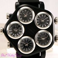 Unusual Black & SIlver 5 Zone Multi Dial World Time Mens Hip Hop Gangster Watch