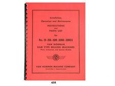 Van Norman 28 28a 38m 38ma 38mea Milling Machine Operator Parts Manual 638