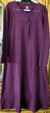 Lands' End Purple 100% COTTON Lace Inset Mid-Calf Night-Gown Sleep-Shirt Tee X