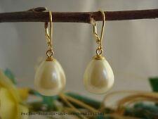Ohrringe 925er Silber vergoldet, Tropfen aus MuschelkernPerlen in Südsee-Gold