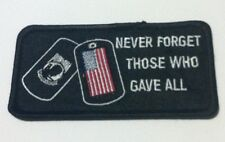 POW MIA Dog Tags Never Forget Those Embroidered Biker Patch