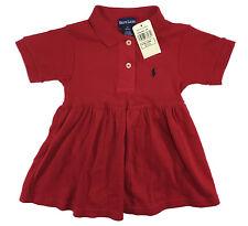 RALPH LAUREN M58 Infant Baby Girls Red Navy Blue Pony Dress Sz XL 18-24 M NWT