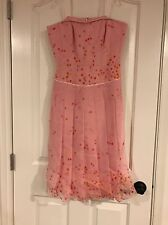 NWT KAY UNGER $350 Strapless 100% Silk Pink Polka Dot Dress Size 6