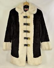 """Vintage Mod faux fur 60's made in England jacket coat black white 19"""" chest"""