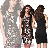 Vestito tubino donna animaler leopardato MACULATO inserti velo aderente DL-938