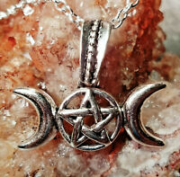 Triple Goddess Crescent Moon Pentagram Holy Trinity Necklace Silver Pagan Wicca