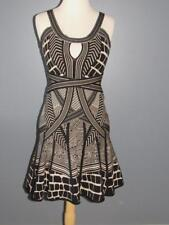 AUTHENTIC HERVE LEGER S SMALL FIT AND FLARE BLACK BEIGE BANDAGE DRESS GEOMETRIC