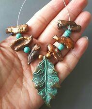 "1.75"" Handmade Patina brass leaf pendant set, golden pearl sticks, turquoise"