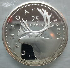 2000 CANADA 25 CENTS PROOF SILVER QUARTER HEAVY CAMEO COIN