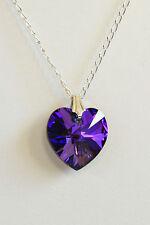 "16"" STERLING SILVER 925 Large Crystal Heart NECKLACE Purple SWAROVSKI Elements"